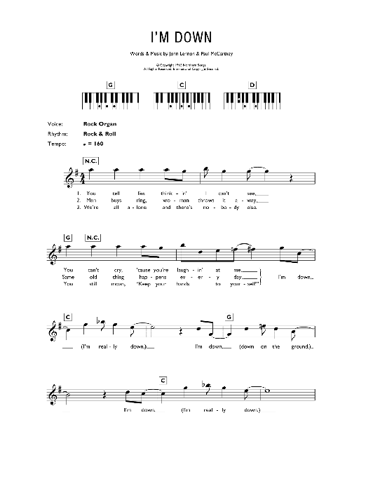 I'm Down (Piano Chords/Lyrics)