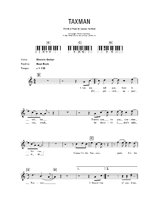 Taxman (Piano Chords/Lyrics)