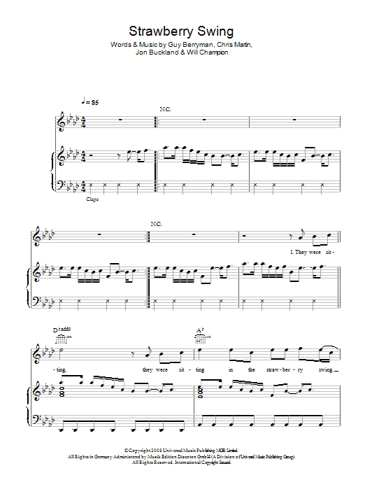 Strawberry Swing By Coldplay Piano Vocal Guitar Right Hand Melody Digital Sheet Music
