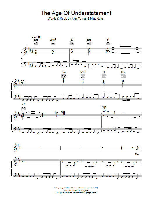 The Age Of The Understatement Sheet Music