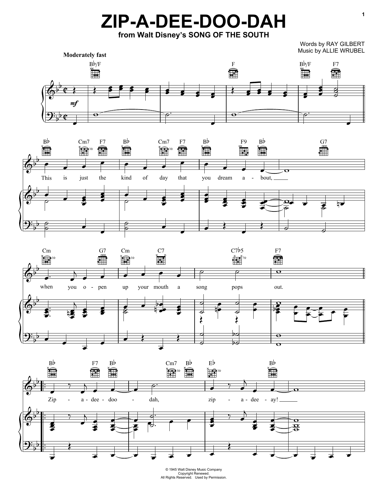 Zip-A-Dee-Doo-Dah (Piano, Vocal & Guitar (Right-Hand Melody))