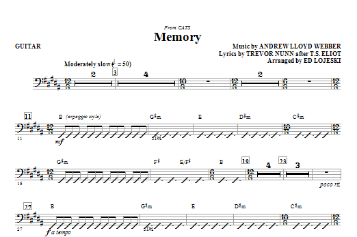 Memory (from Cats) (complete set of parts) sheet music for orchestra/band (Rhythm) by Andrew Lloyd Webber and Ed Lojeski. Score Image Preview.