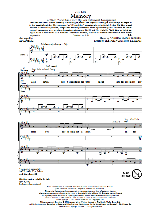 Partition chorale Memory (from Cats) de Andrew Lloyd Webber - SATB
