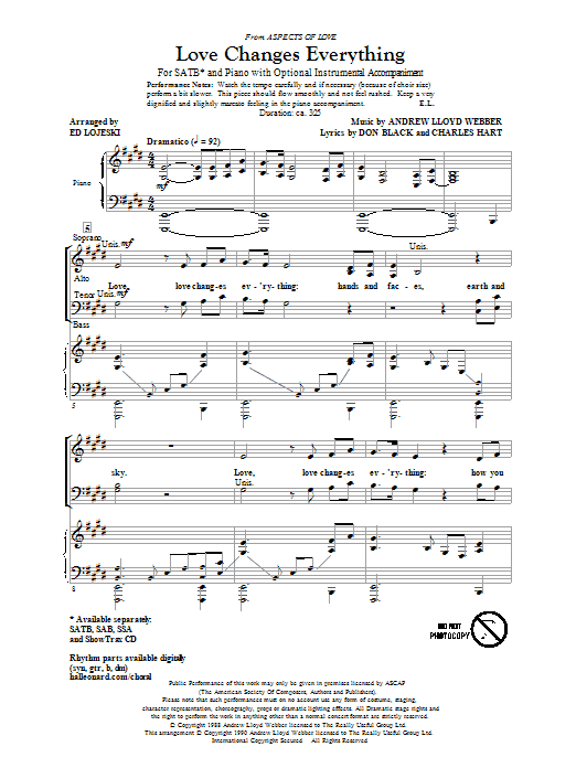 Love Changes Everything (from Aspects Of Love) (arr. Ed Lojeski) (SATB Choir)