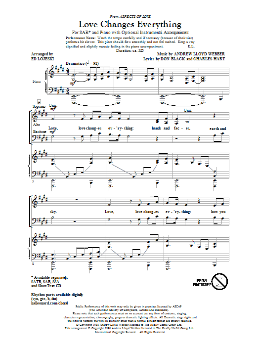 Love Changes Everything (from Aspects Of Love) (arr. Ed Lojeski) Sheet Music