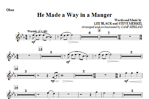 He Made A Way In A Manger - Oboe Sheet Music