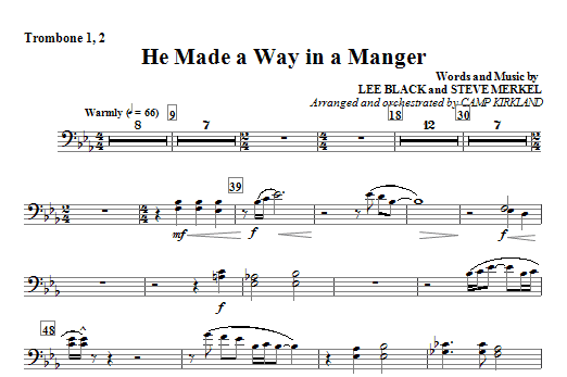 He Made A Way In A Manger - Trombone 1, 2 Sheet Music