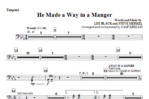 He Made A Way In A Manger - Timpani Sheet Music