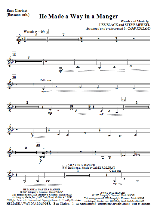 He Made A Way In A Manger - Bass Clarinet Sheet Music