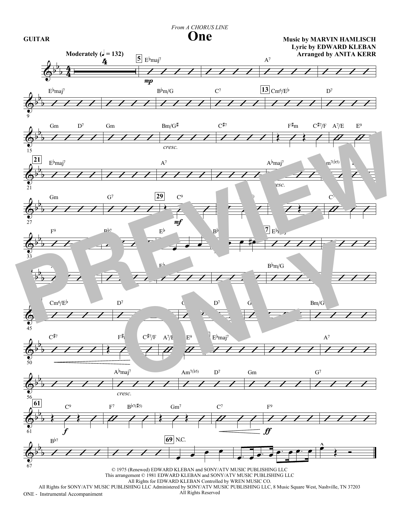 One (from A Chorus Line) (complete set of parts) sheet music for orchestra/band (Rhythm) by Anita Kerr, Edward Kleban and Marvin Hamlisch. Score Image Preview.