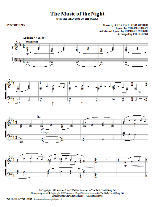 The Music Of The Night (from The Phantom Of The Opera) (complete set of parts) sheet music for orchestra/band (Rhythm) by Andrew Lloyd Webber and Ed Lojeski. Score Image Preview.