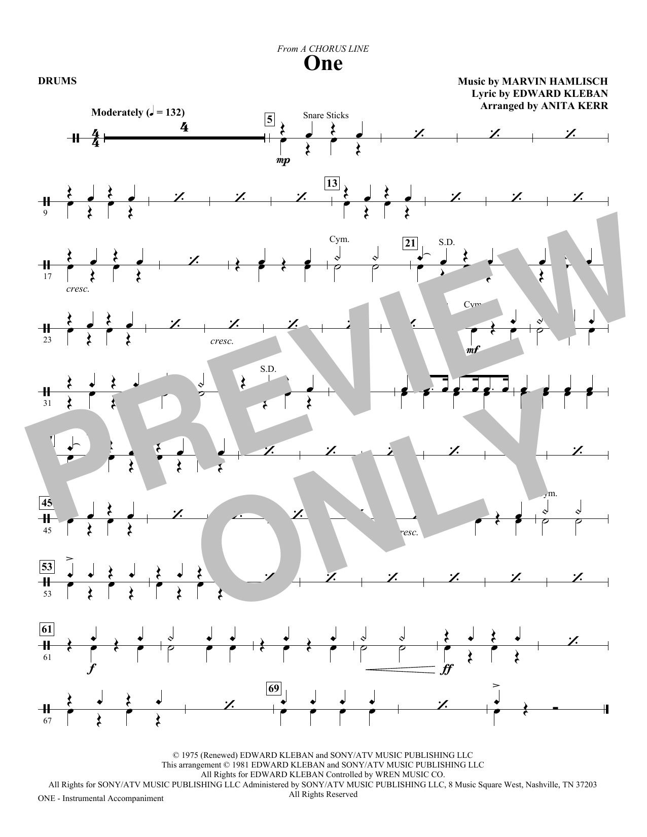 One (from A Chorus Line) - Drums Sheet Music
