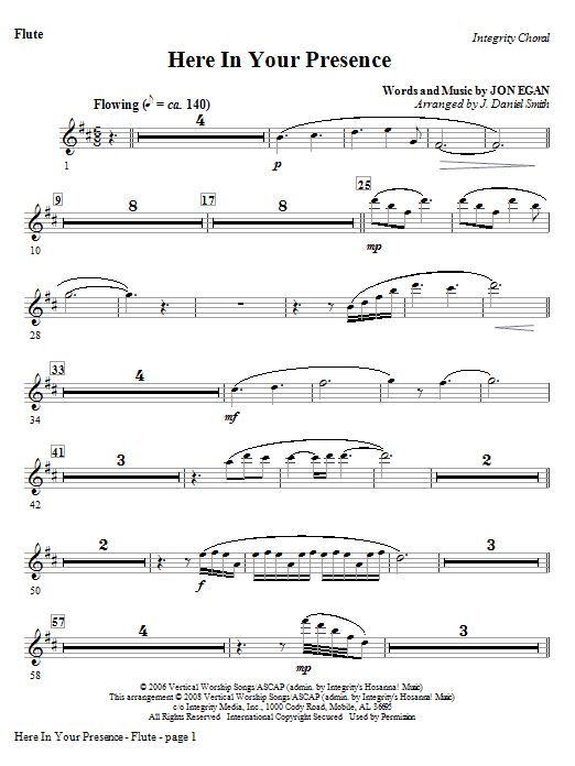 Here In Your Presence - Flute Sheet Music