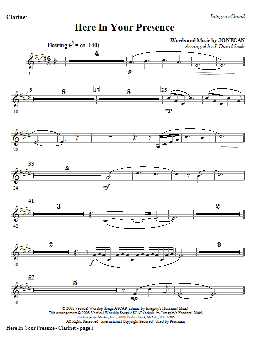 Here In Your Presence - Clarinet Sheet Music