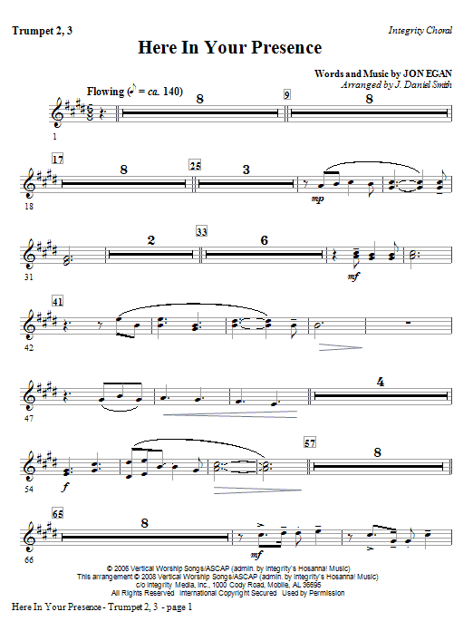 Here In Your Presence - Bb Trumpet 2,3 Sheet Music