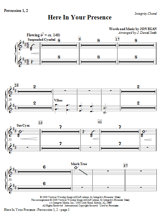 Here In Your Presence - Percussion 1 & 2 Sheet Music