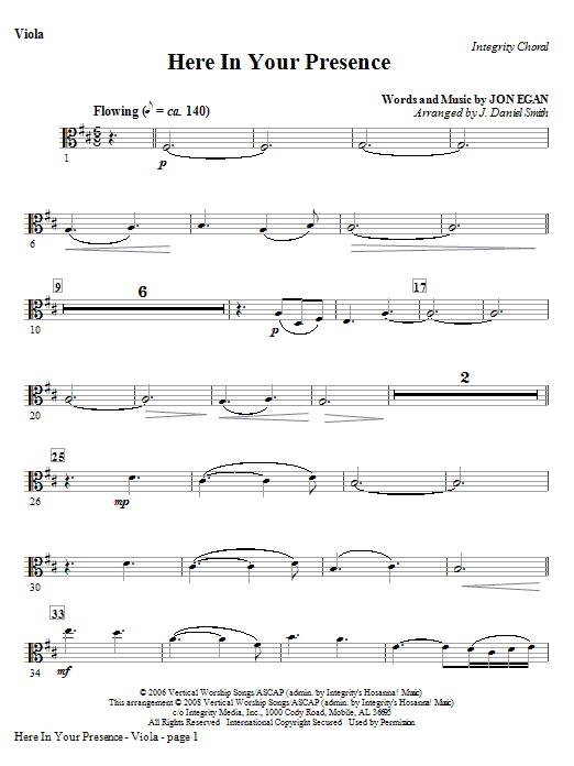Here In Your Presence - Viola Sheet Music