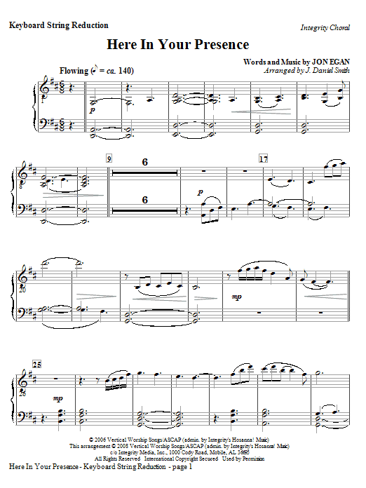 Here In Your Presence - Keyboard String Reduction Sheet Music
