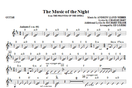 The Music Of The Night (from The Phantom Of The Opera) - Guitar ...
