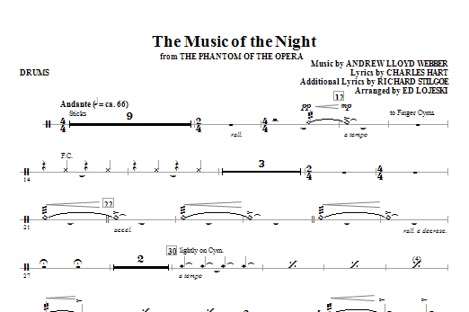 The Music Of The Night (from The Phantom Of The Opera) - Drums (Choir Instrumental Pak)