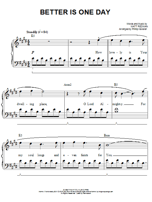 Better Is One Day (Easy Piano)