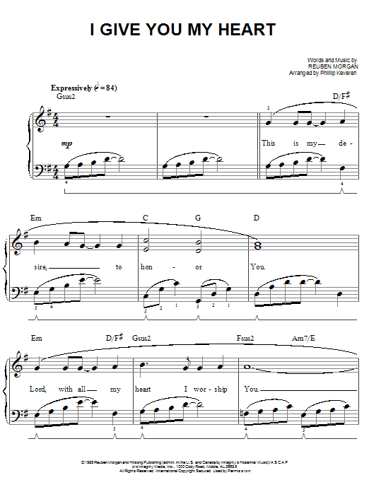 I Give You My Heart | Sheet Music Direct