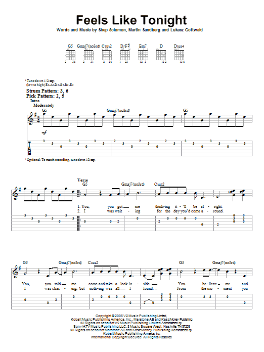 Feels Like Tonight (Easy Guitar Tab)