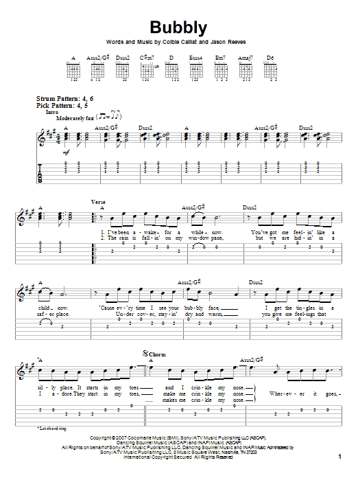 Bubbly (Easy Guitar Tab)
