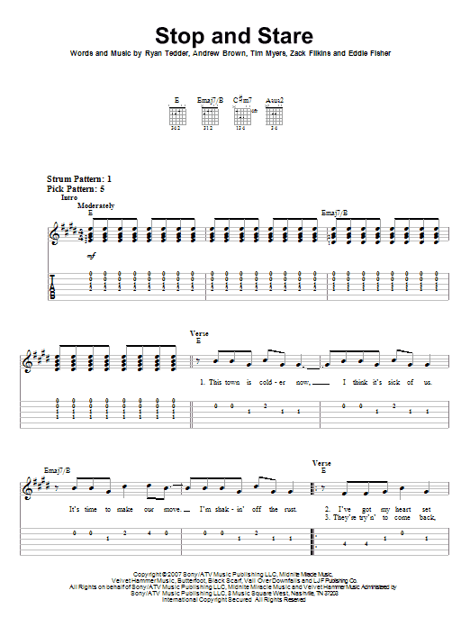 Tablature guitare Stop And Stare de OneRepublic - Tablature guitare facile