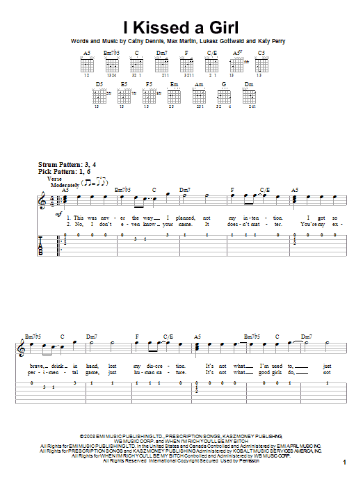 I Kissed A Girl (Easy Guitar Tab)