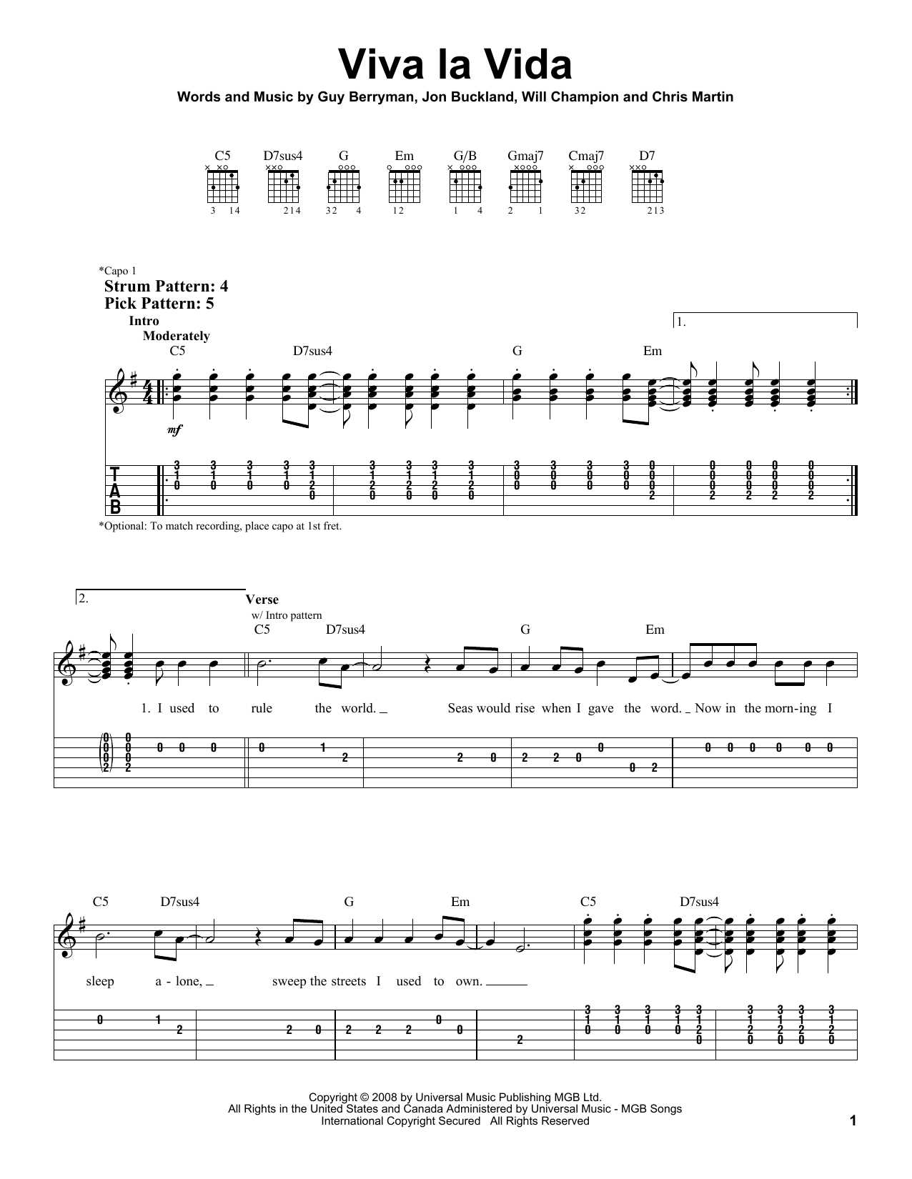 Viva La Vida sheet music by Coldplay (Easy Guitar Tab u2013 67120)