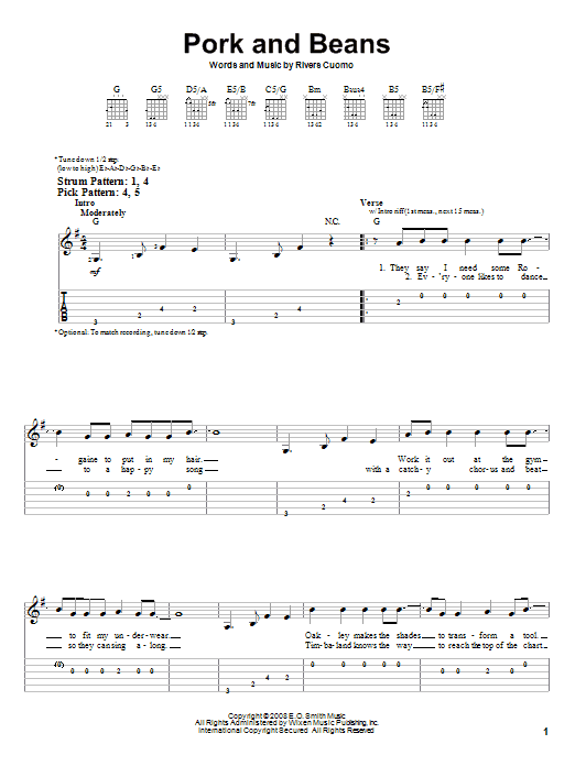 Pork And Beans (Easy Guitar Tab)