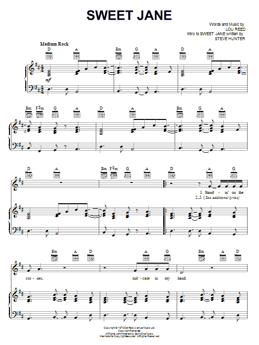 Sweet Jane (Piano, Vocal & Guitar (Right-Hand Melody))