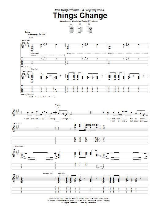 Things Change (Guitar Tab)