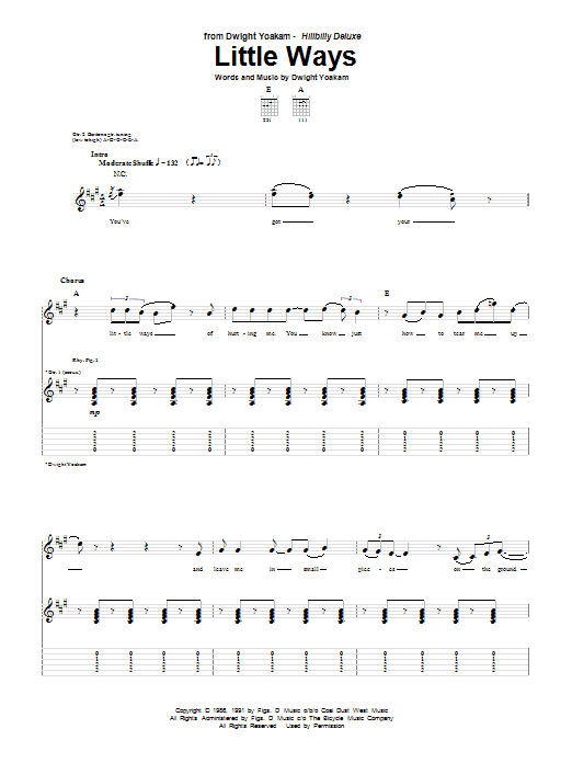Tablature guitare Little Ways de Dwight Yoakam - Tablature Guitare