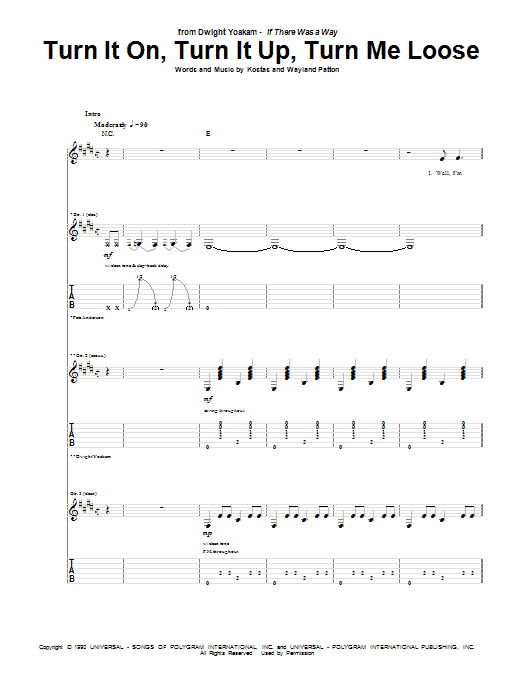 Turn It On, Turn It Up, Turn Me Loose (Guitar Tab)