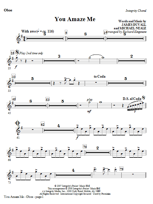 You Amaze Me - Oboe Sheet Music