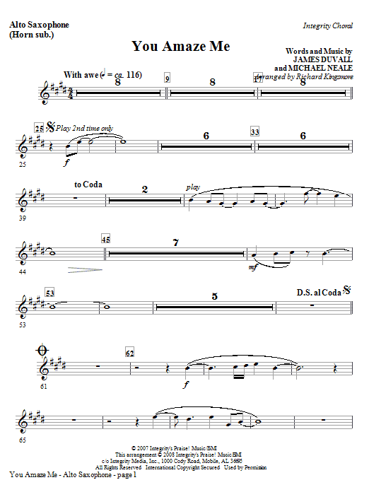 You Amaze Me - Tenor Sax (Trombone 2 sub) Sheet Music