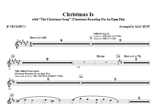 Christmas Is (with The Christmas Song - Chestnuts Roasting On An Open Fire) (complete set of parts) sheet music for orchestra/band (chamber ensemble) by Mac Huff. Score Image Preview.