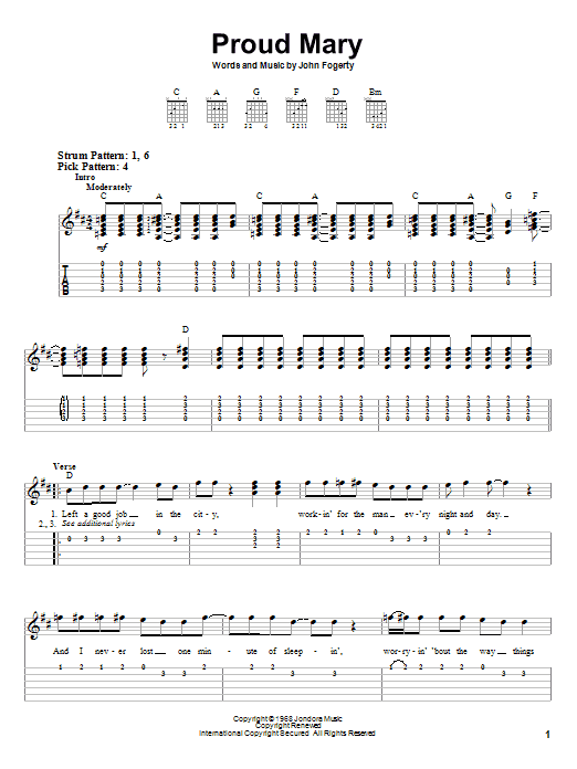 Proud Mary by Creedence Clearwater Revival - Easy Guitar Tab ...