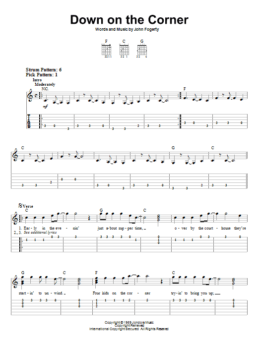 Down On The Corner (Easy Guitar Tab)
