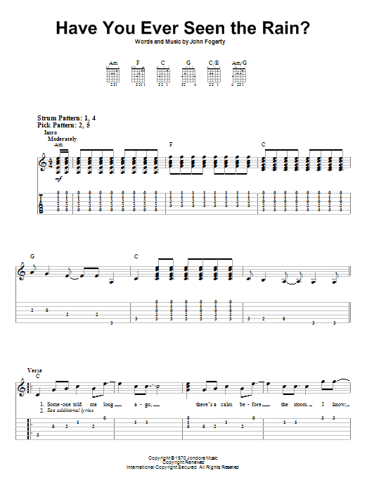 Have You Ever Seen The Rain? (Easy Guitar Tab)