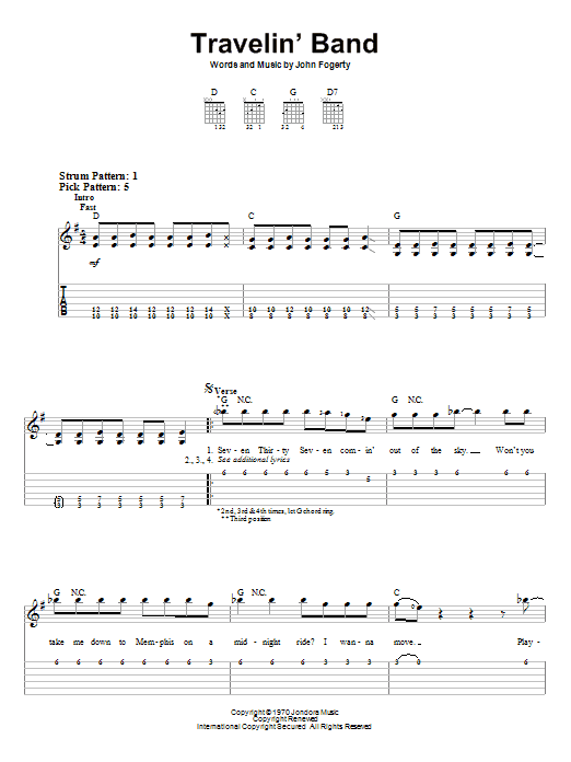 Travelin' Band (Easy Guitar Tab)