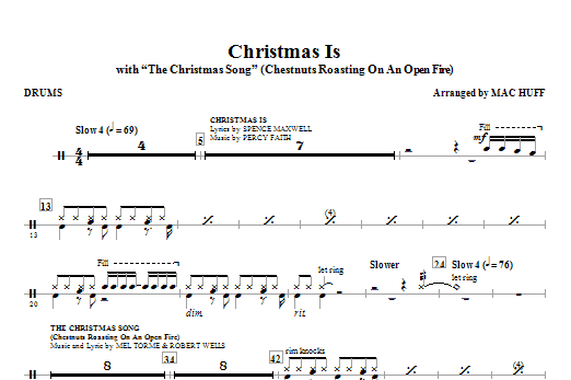 Christmas Is (with The Christmas Song - Chestnuts Roasting On An Open Fire) - Drums Sheet Music