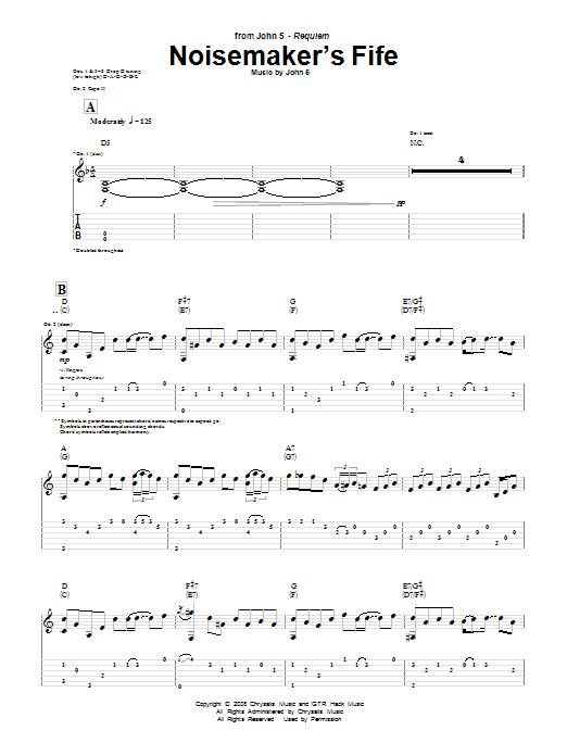Noisemaker's Fife (Guitar Tab)