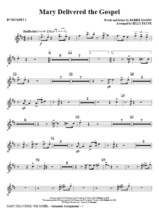 Mary Delivered The Gospel - Bb Trumpet 3 (Choir Instrumental Pak)
