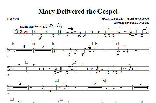 Mary Delivered The Gospel - Timpani Sheet Music