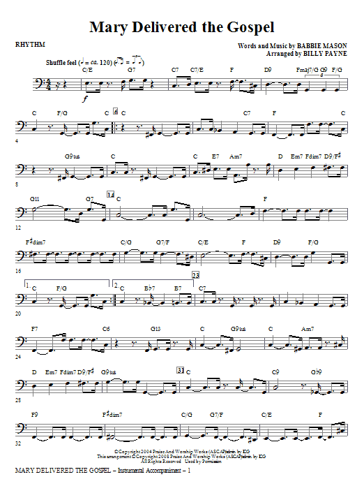 Mary Delivered The Gospel - Drum Set Sheet Music