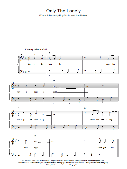 Only The Lonely (Know The Way I Feel) Sheet Music