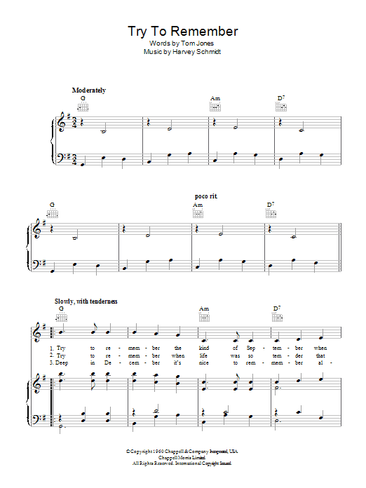 Try To Remember (Piano, Vocal & Guitar)